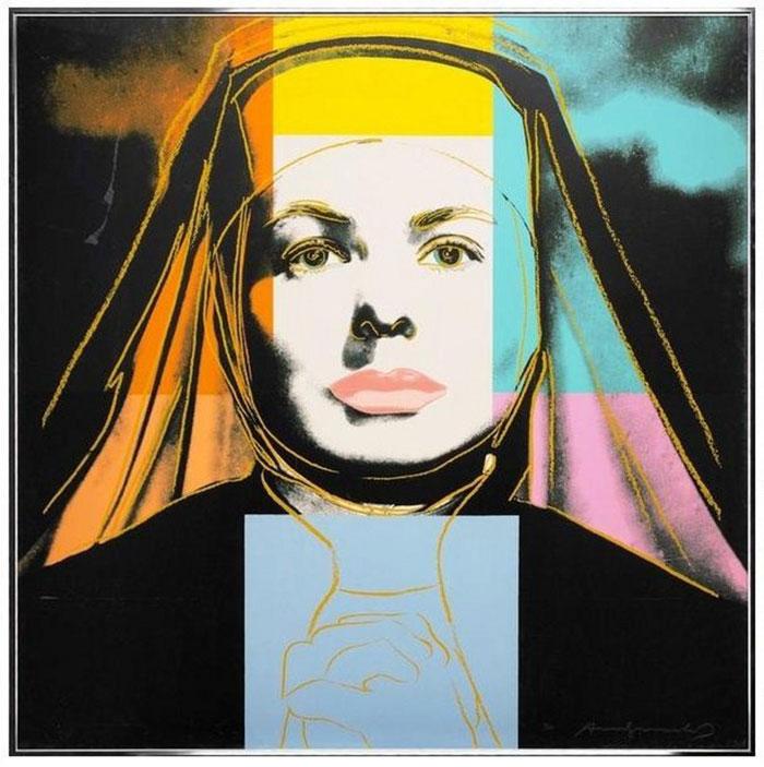 Andy Warhol (1928 - 1987) Ingrid Bergman - The Nun (FS.II.314), 1983  Sérigraphie sur tableau Lenox Museum 38 x 38 in. (96.52 x 96.52 cm) Tirage de 250  Signée et numérotée