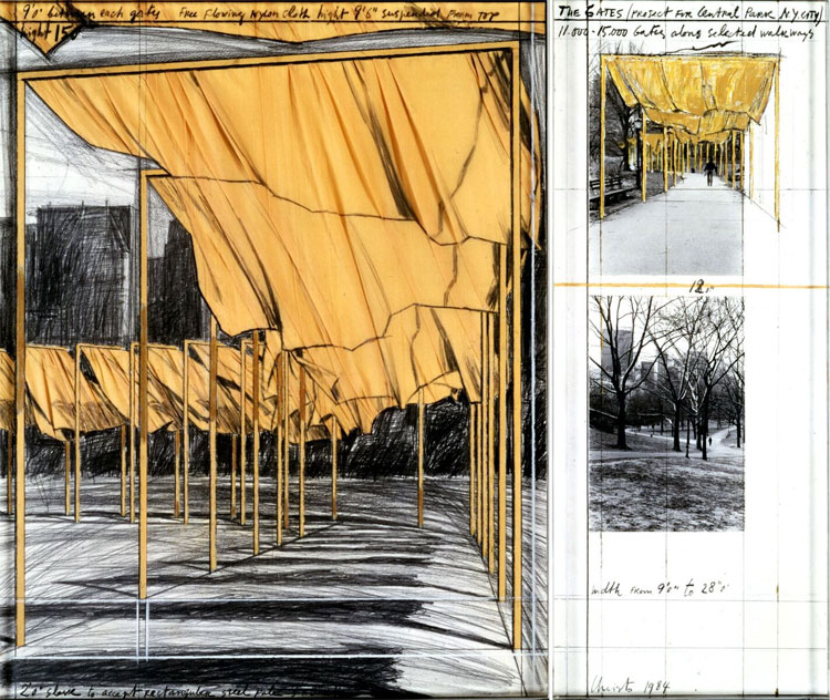 The Gates, Project for Central Park, New York City Collage in two parts 1980 Pencil, fabric, pastel, charcoal, wax crayon, enamel paint and two photograph by Wolfgang Volz 71 x 56 and 71 x 28 cm Collection of the artist Photo : Wolfgang Volz © Christo 1980