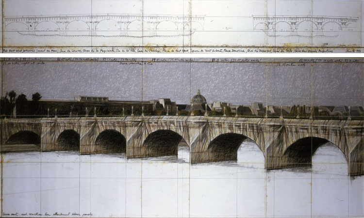 The Pont Neuf Wrapped, Project for Paris Drawing in two parts 1979 Pencil, pastel, charcoal, wax crayon, and technical data 38 x 244 and 106,6 x 244 cm Private collection Photo : Eeva-Inkeri © Christo 1979