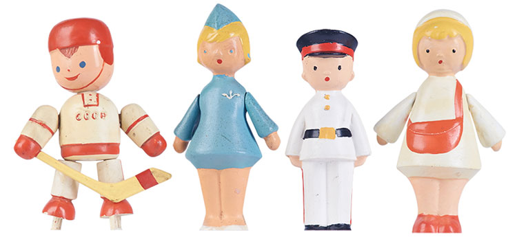 Design soviétique - Ticket inspector, stewardess, hockey player, policeman plastic figures. 1960's © Moscow Design Museum сollection ...